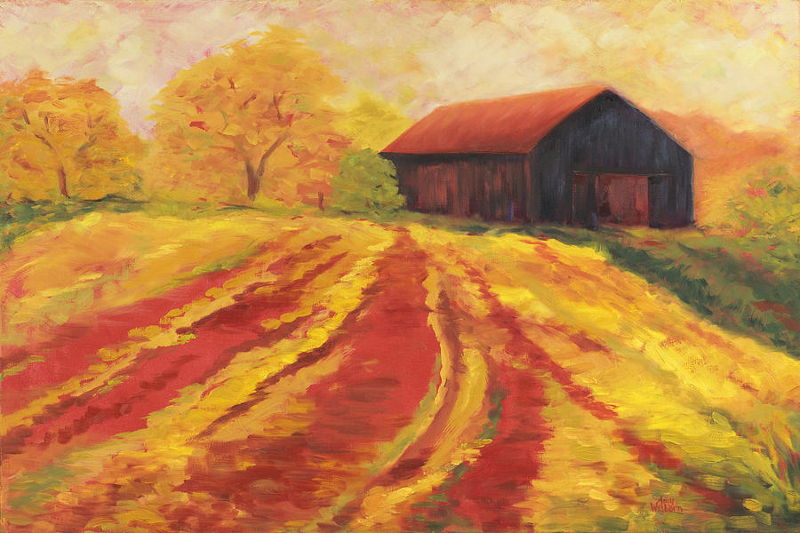Landscape Painting - Autumn Barn by Amy Welborn