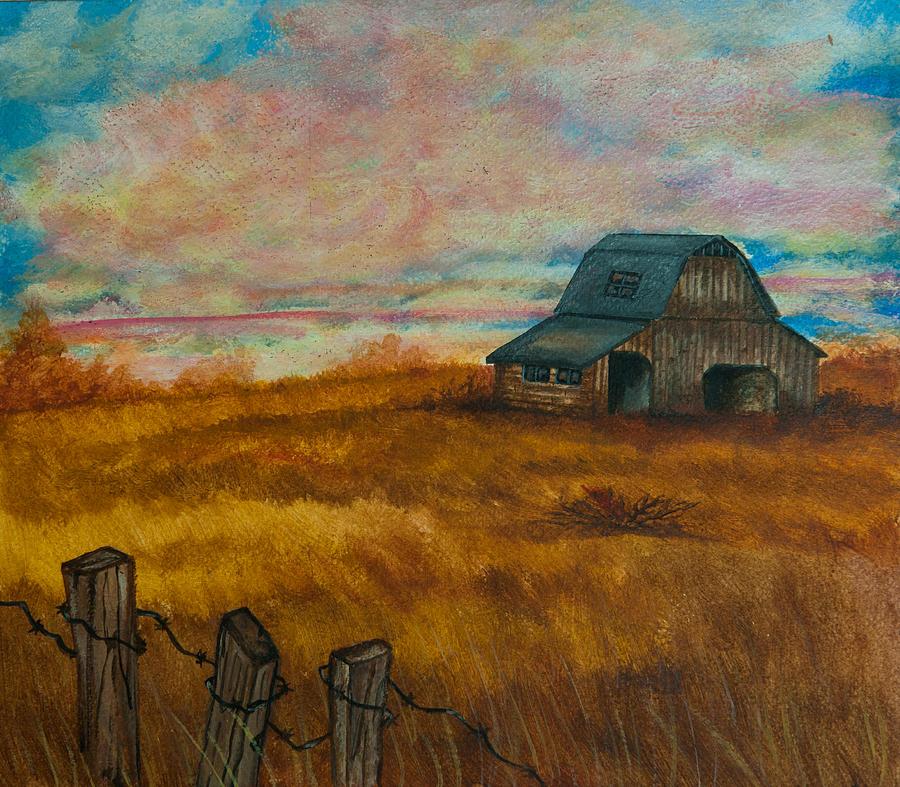 Autumn Barn Painting By Elizabeth Mundaden