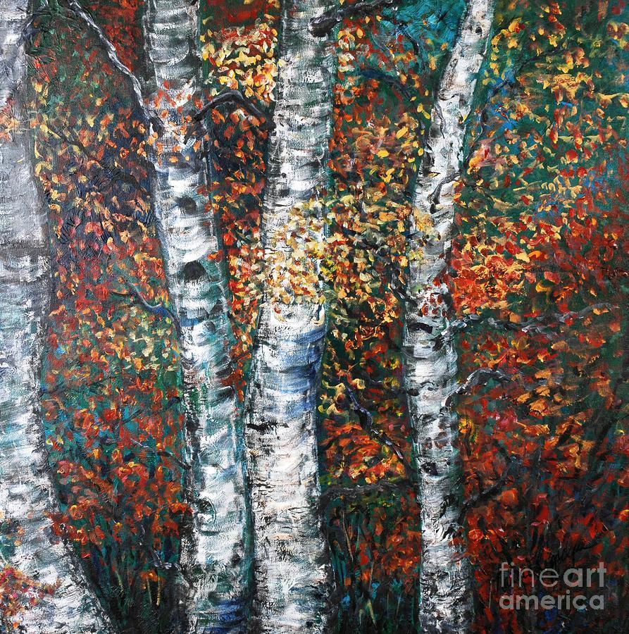 Birch Painting - Autumn Birch by Nadine Rippelmeyer