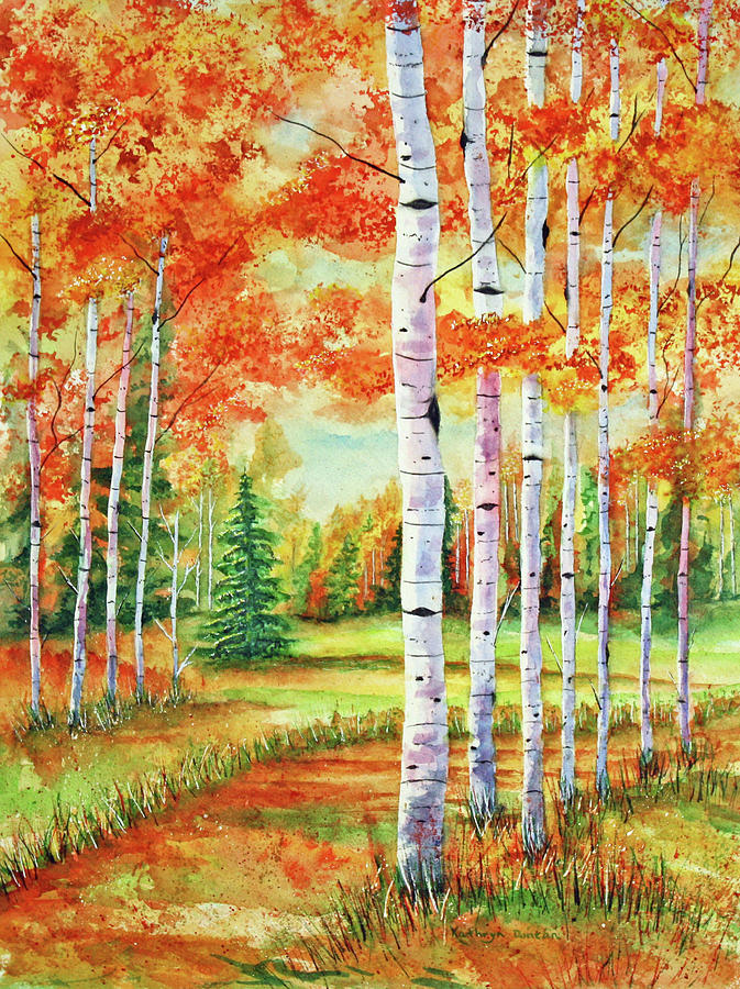 Autumn Birch Path by Kathryn Duncan