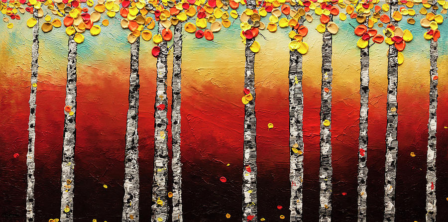 Autumn Birch Trees by Carmen Guedez
