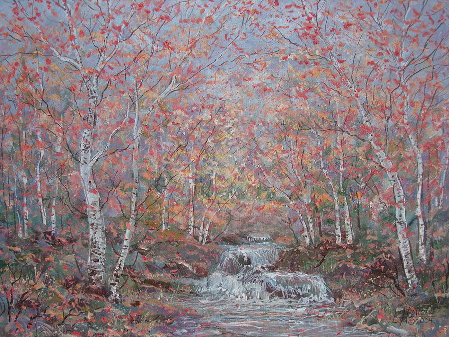 Landscape Painting - Autumn Birch Trees. by Leonard Holland