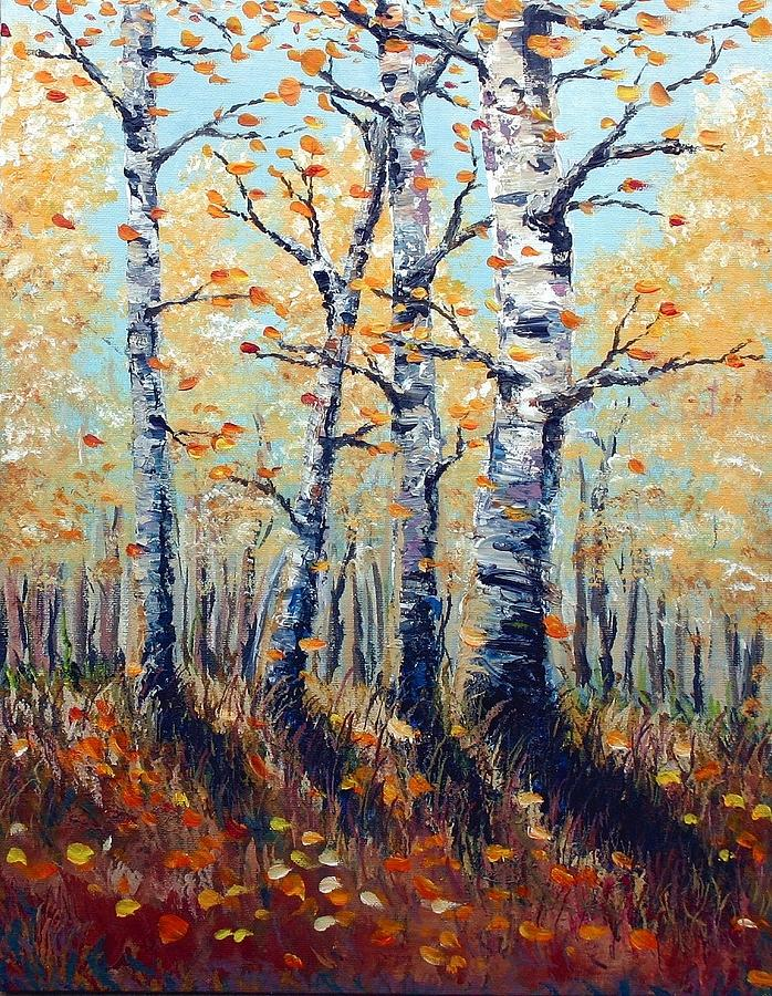 Trees Painting - Autumn Birch by Wesley Pack