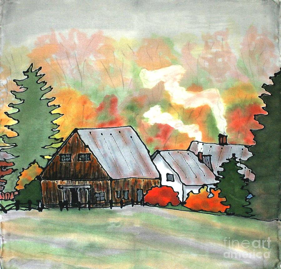 Vermont Painting - Autumn Chill Silk Painting by Linda Marcille