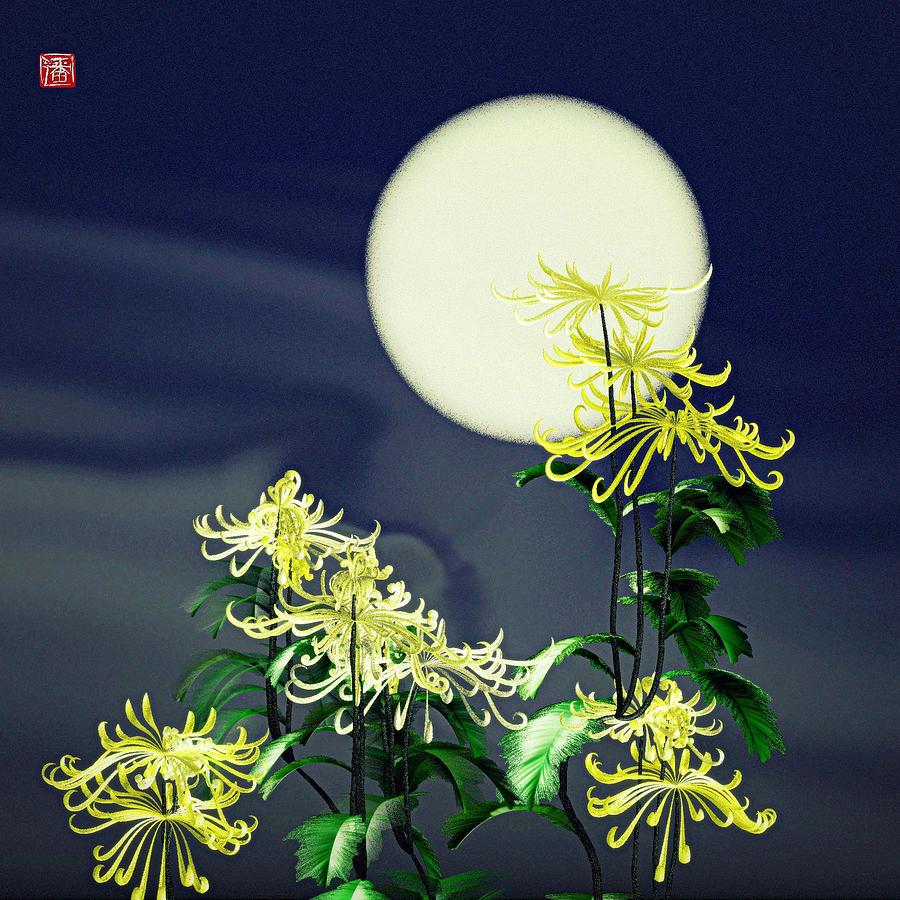Chrysanthemums Digital Art - Autumn Chrysanthemums 2 by GuoJun Pan