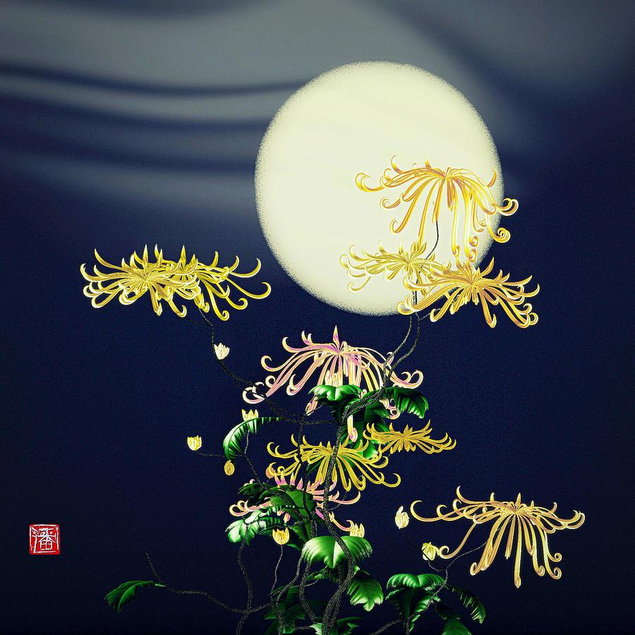 Chrysanthemums  Digital Art - Autumn Chrysanthemums 4 by GuoJun Pan