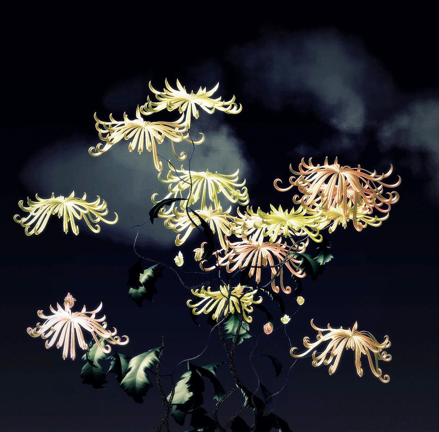 Autumn Chrysanthemums 7 Digital Art by GuoJun Pan