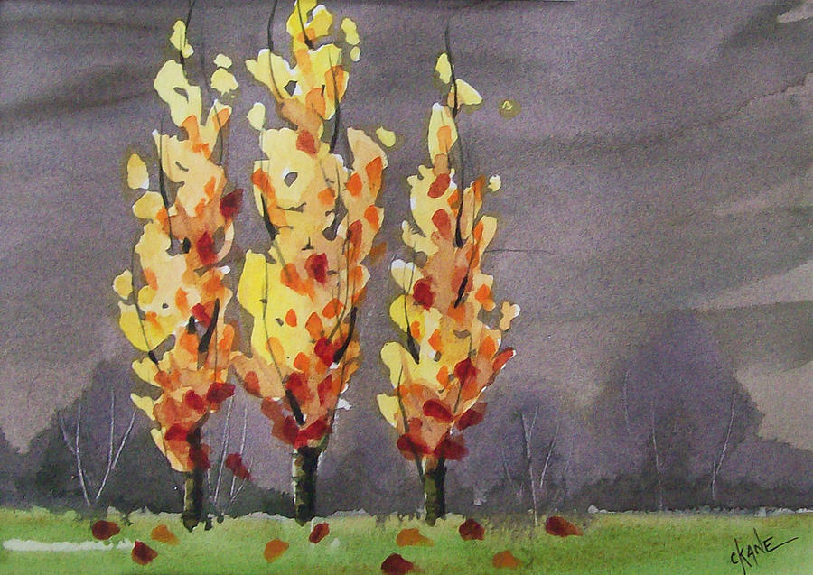 Autumn Trees Painting - Autumn Cold Rain by Christine Camp