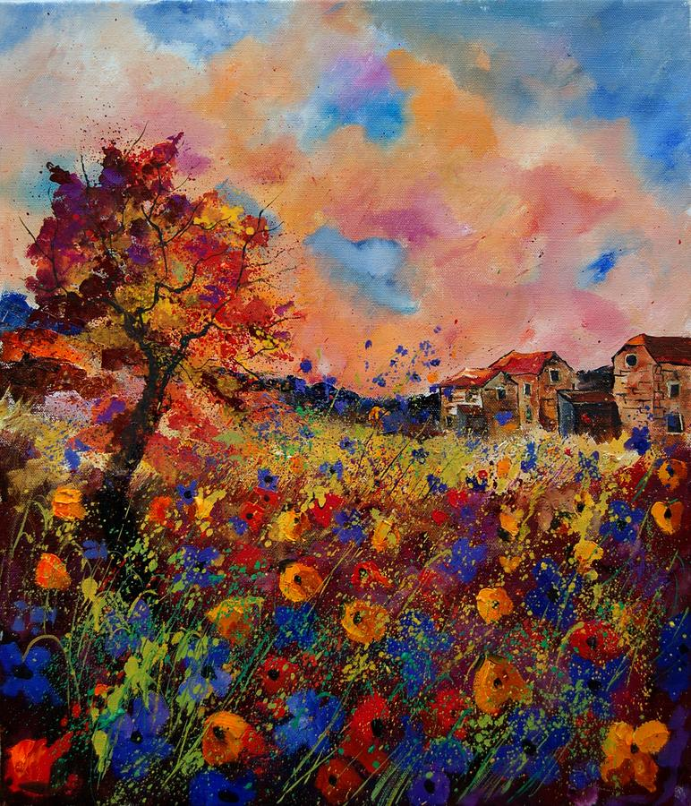 Poppies Painting - Autumn Colors  by Pol Ledent