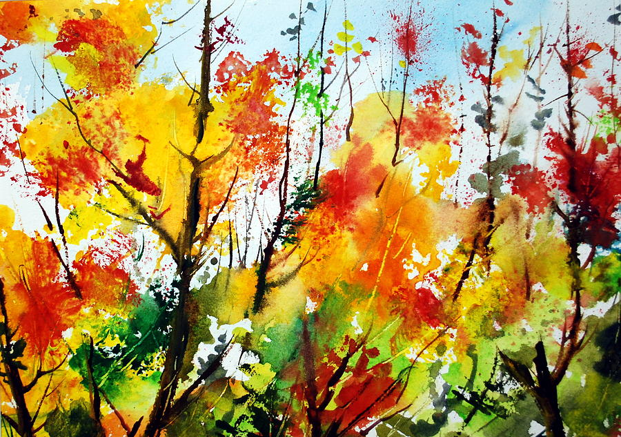 Woodlands Painting - Autumn Colours by Wilfred McOstrich