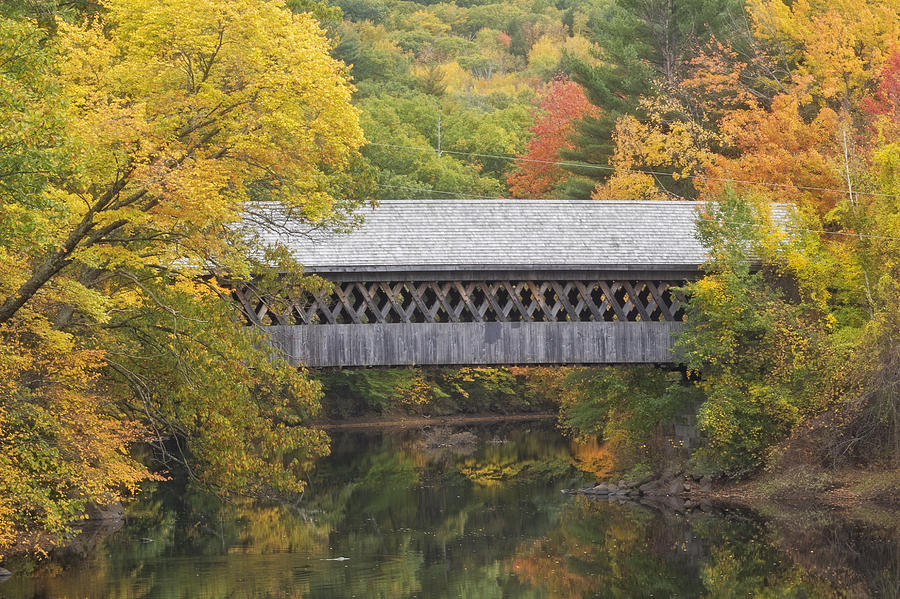 New England Photograph - Autumn Covered Bridge In Henniker, Nh by Scott Snyder