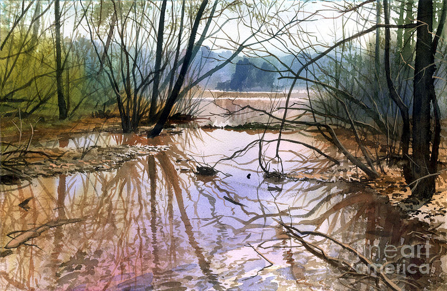 Landscape Painting - Autumn Creek by Sergey Zhiboedov