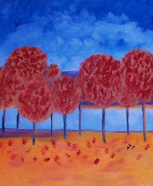 Autumn Elms Painting by Adair Robinson