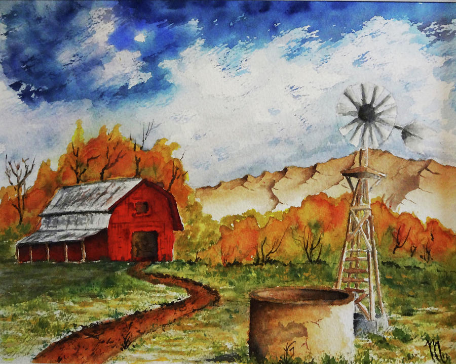Red Barn Painting - Autumn Farm by Darrell Mcgahhey