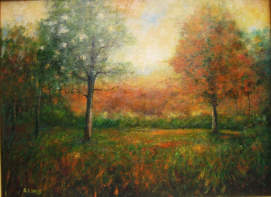 Autumn Field Painting by Robert  Hess
