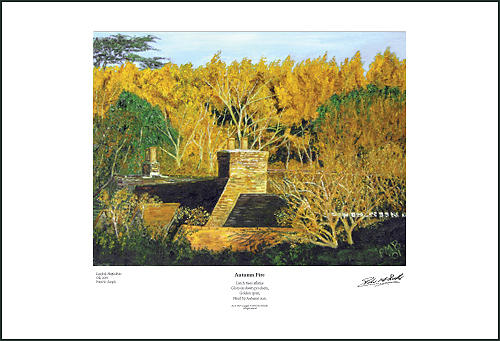 Landscape Painting - Autumn Fire - Giclee Print by Peter Mark Butler