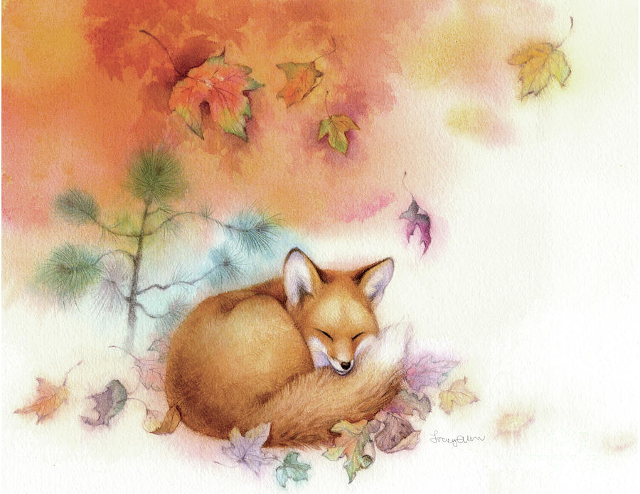 Autumn Gold Fox Painting By Tracy Herrmann