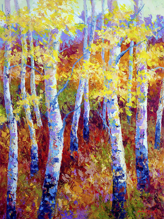 Birch Painting - Autumn Gold by Marion Rose