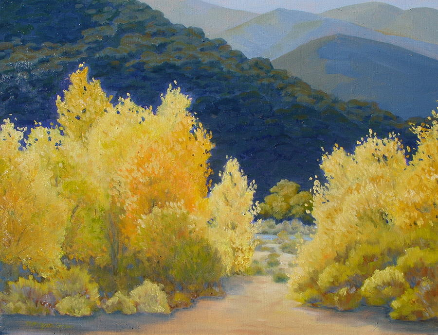 Landscape Painting - Autumn Gold On The Santa Ynez River by Morgan  Green