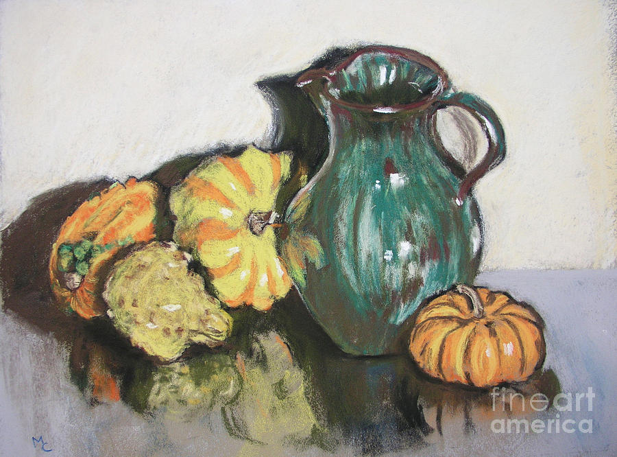 Still Life Pastel - Autumn Gourds by Mary Capriole