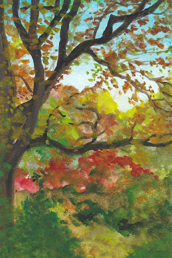 Autumn Painting - Autumn in McCrillis Gardens by Lin-Lin Mao