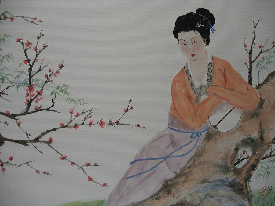 Figure Painting - Autumn  In The Garden by Gerry Fong