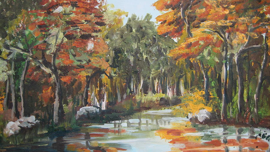 Landscape Painting - Autumn In The Woods by Mabel Moyano