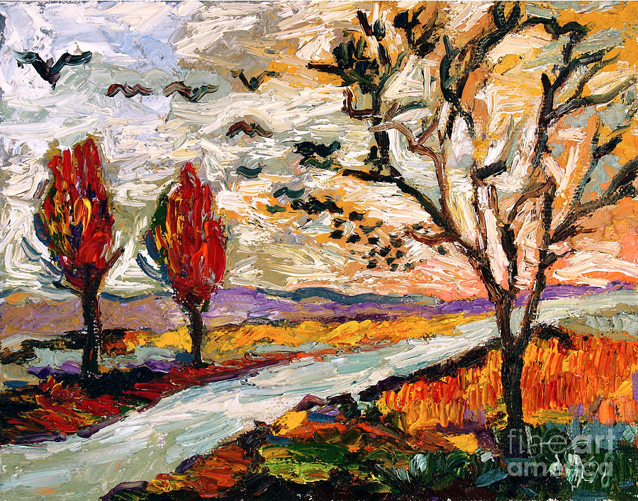 Autumn Landscape Oil Painting Heading South Painting by Ginette Callaway