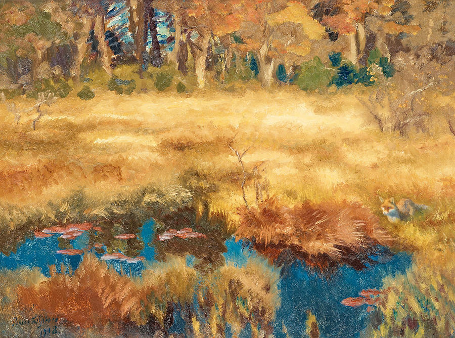 Swedish Painters Painting - Autumn Landscape With Fox by Bruno Liljefors