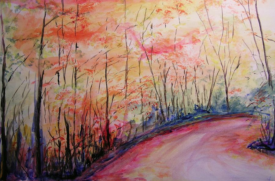 Impressionist Painting - Autumn Lane II by Lizzy Forrester