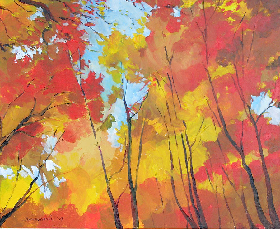 Landscape Painting - Autumn Leaves by Alessandro Andreuccetti
