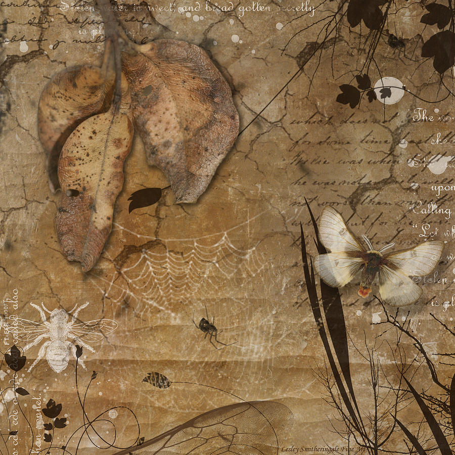 Autumn Leaves And Moth Digital Art by Lesley Smitheringale