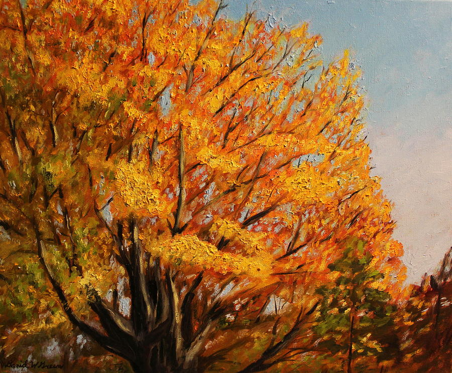 Autumn Painting - Autumn Leaves At High Cliff by Daniel W Green