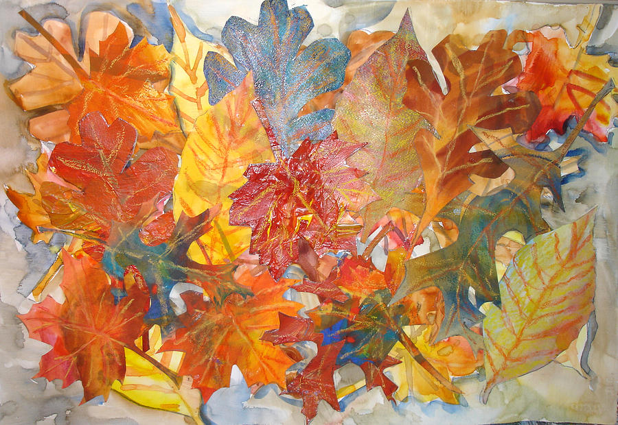 Collage Mixed Media - autumn Leaves Collage III by Joyce Kanyuk