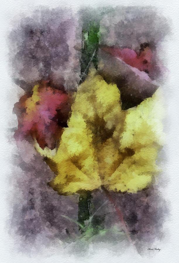 Autumn Leaves - Digital Watercolor Photograph