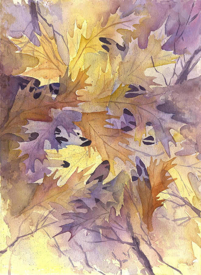 Leave Painting - Autumn Leaves by Gladys Folkers
