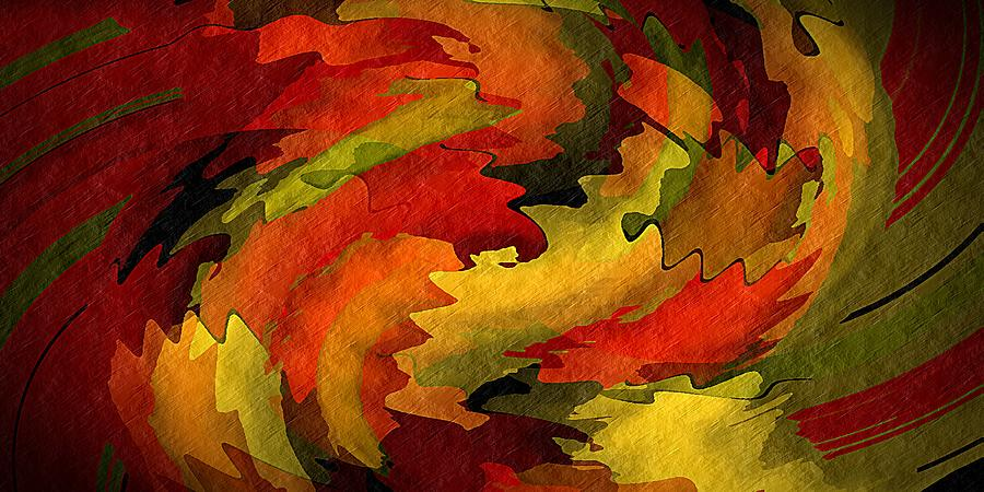 Abstract Digital Art - Autumn Leaves by Terry Mulligan