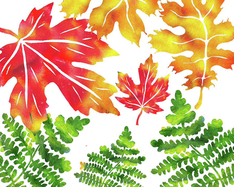 autumn leaves watercolor silhouettes painting by irina sztukowski