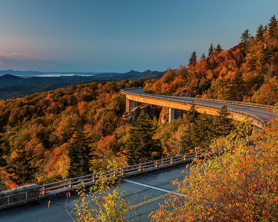 Morning Sun Light - Autumn Linn Cove Viaduct Fall Foliage by Mike Koenig