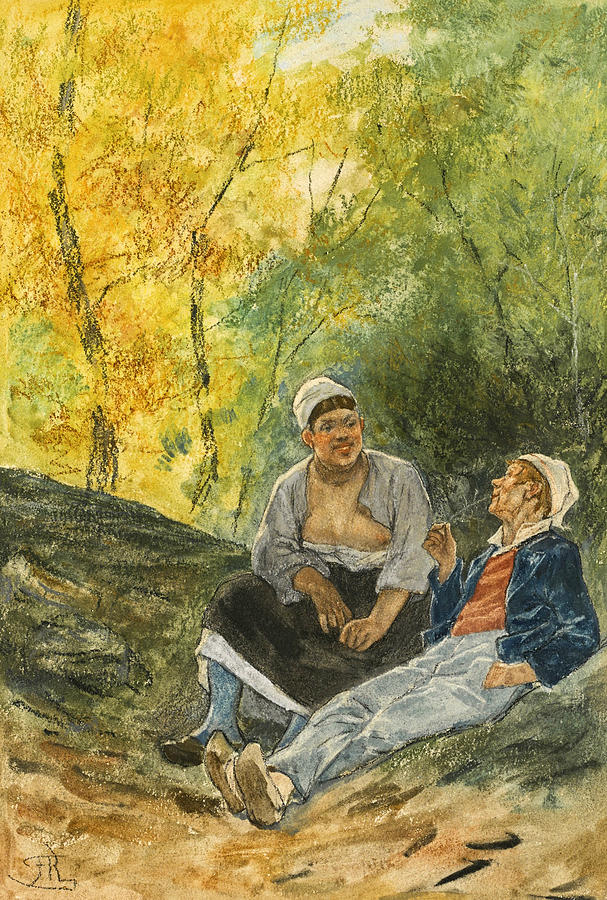 Felicien Rops Drawing - Autumn Love by Felicien Rops