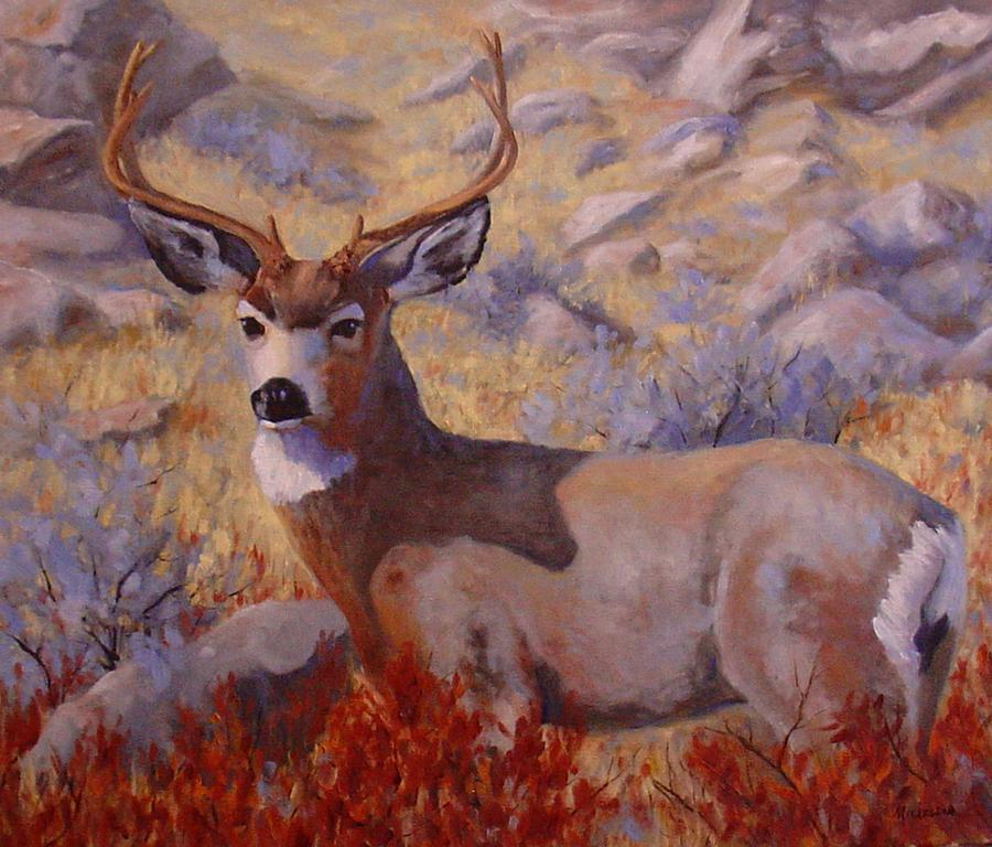 Deer Painting - Autumn Majesty by Debra Mickelson