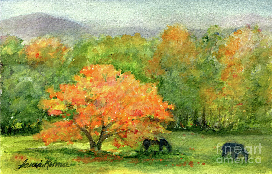 Autumn Maple with Horses Grazing by Laurie Rohner