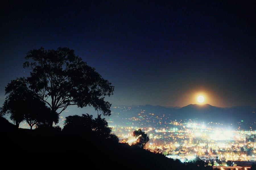 Autumn Moon Rise Over Desert Mountains San Diego by John Castell