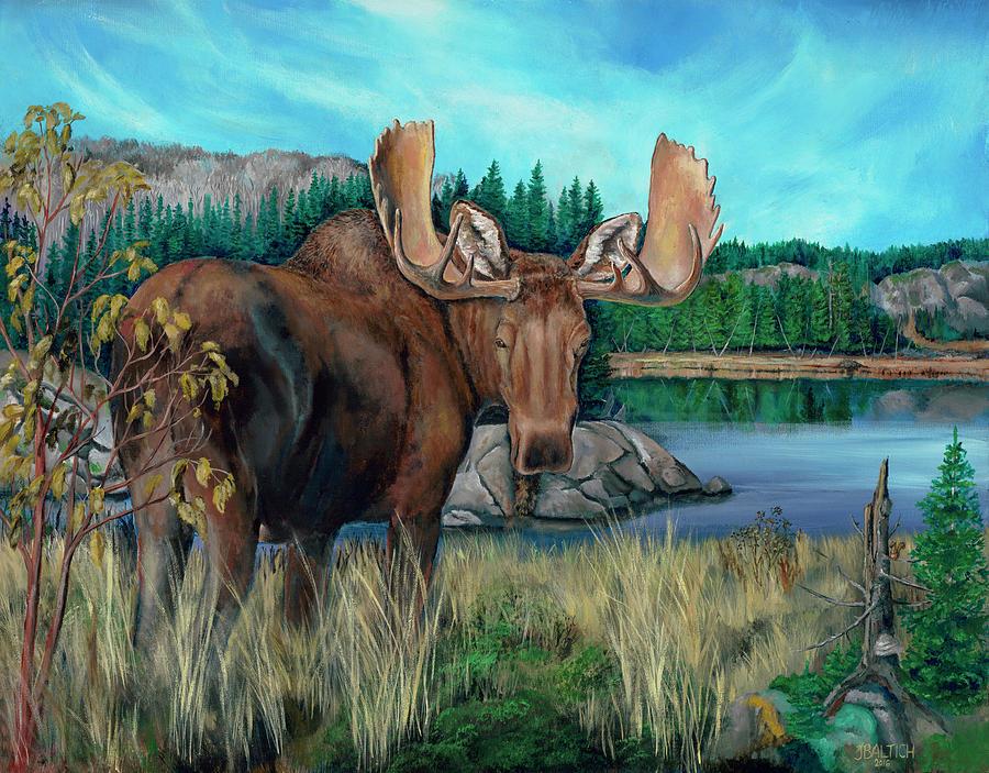 Bull Moose Painting - Autumn Moose by Joe Baltich