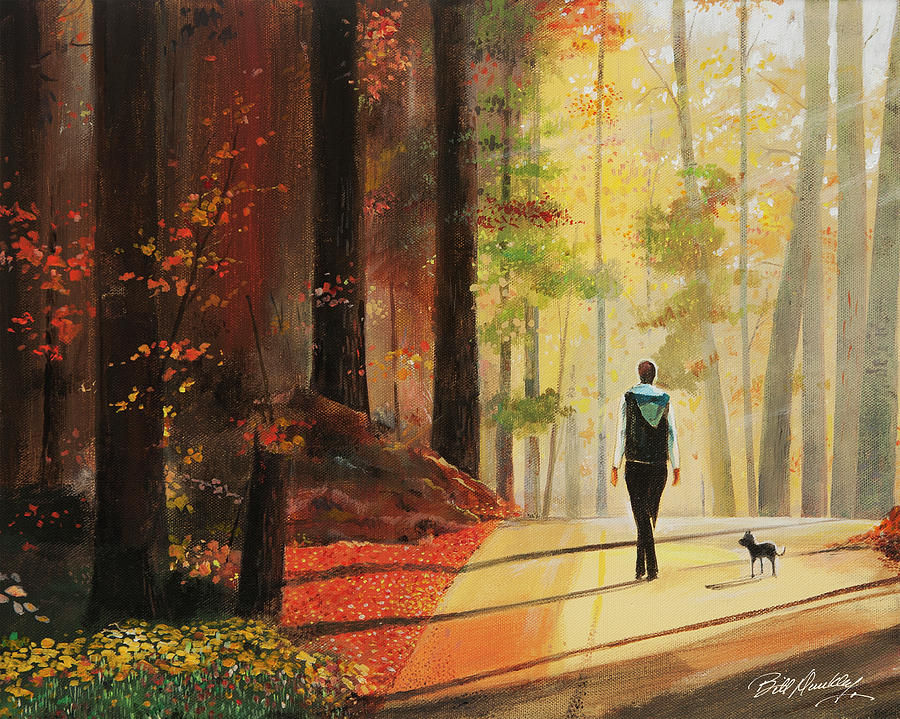 Forest Painting - Autumn Morning Walk by Bill Dunkley