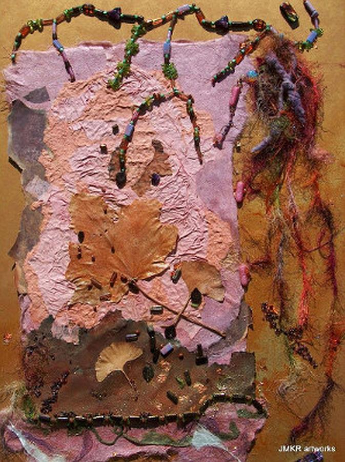 Collage Painting - Autumn Nocturne by Judith Kerrigan Ribbens