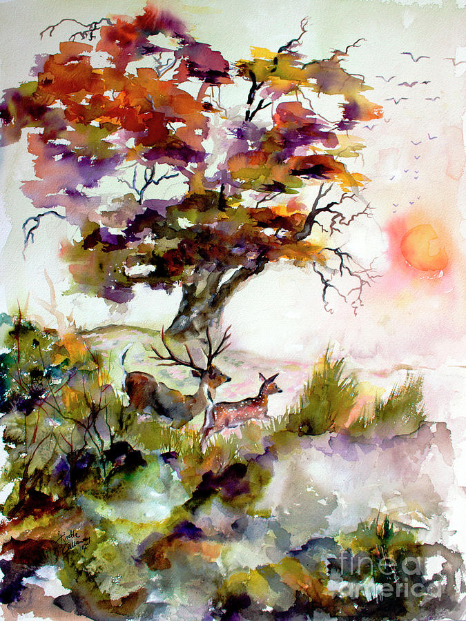 Autumn Oak and Deer Sunset  Painting by Ginette Callaway