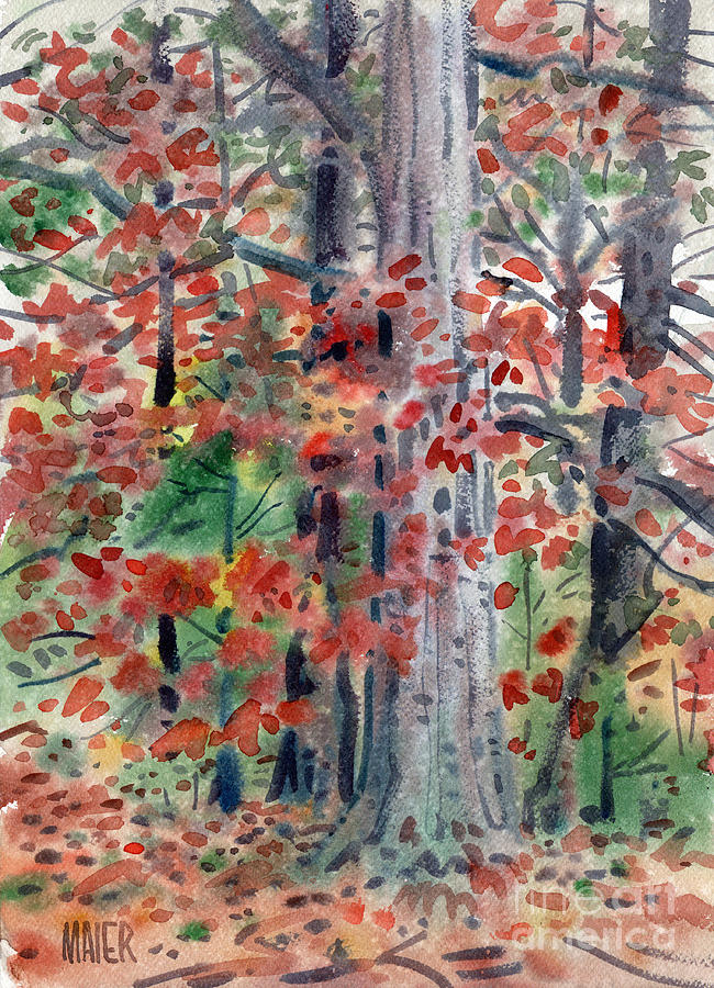 Autumn Foliage Painting - Autumn Oak by Donald Maier