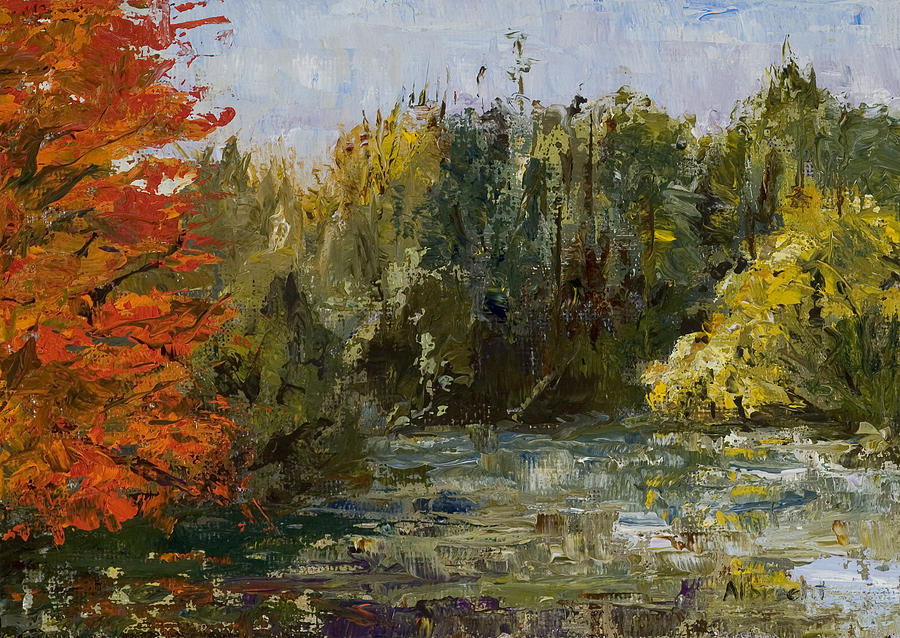 Autumn  Pond Painting by Nancy Albrecht
