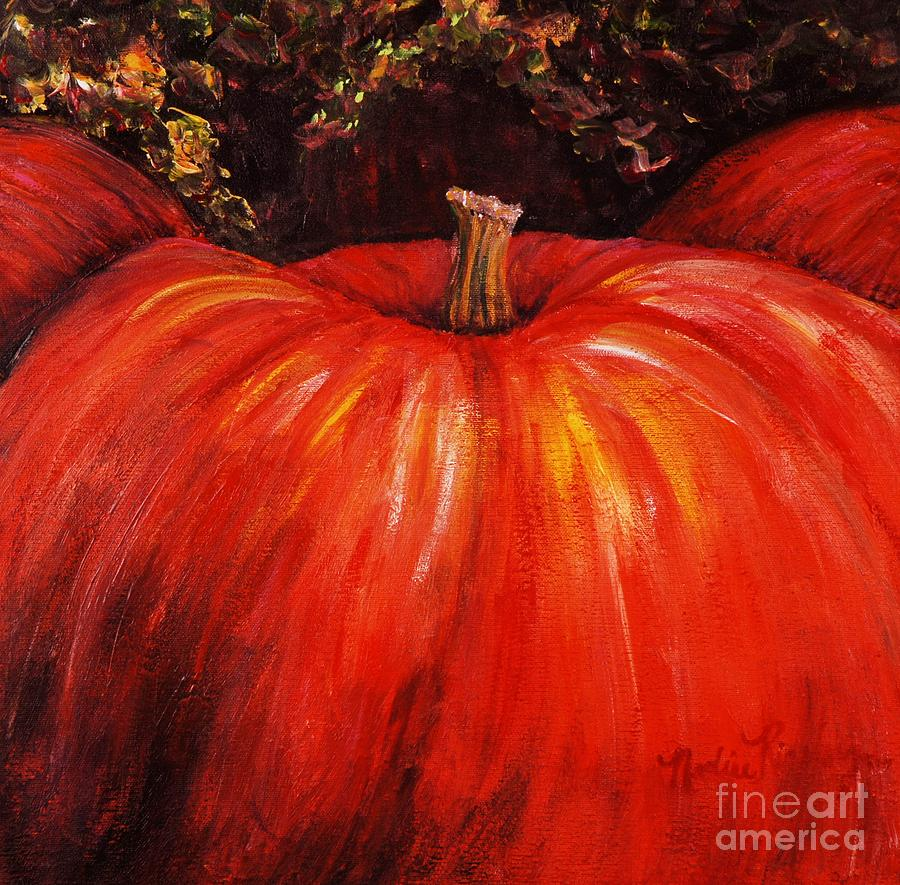 Orange Painting - Autumn Pumpkins by Nadine Rippelmeyer